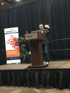 B.C. entrepreneur Yves Potvin speaking at 2019 Plant Protein Foods Summit in Calgary