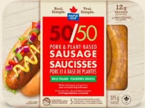 Maple Leaf Foods, pork and plant-based blended sausages